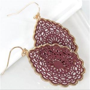 Wine Mandala Teardrop Earrings